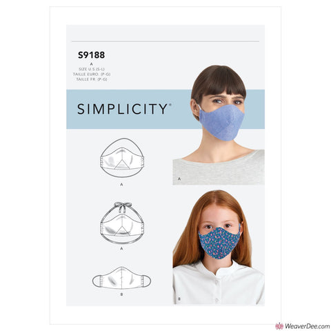 Simplicity Pattern S9188 Family Face Covers / Masks
