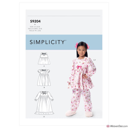 Simplicity Pattern S9204 Children's/Girls' Gathered Tops, Dresses, Gown & Pants