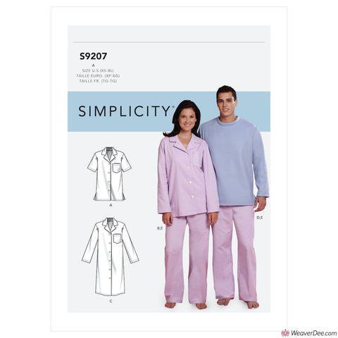 Simplicity Pattern S9207 Tops, Nightshirt, Pants (Misses'/Men's/Boys'/Girls') & Sweatsuit For Dog