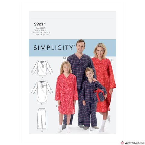 Simplicity Pattern S9211 Patch Pocket Top, Nightshirt & Pants (Misses'/Men's/Boys'/Girls')