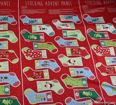 Cotton Craft Company Christmas Fabric - Santa & Elf Stocking Advent Panels