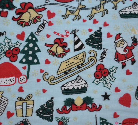 Poly Cotton Fabric - Santa's Sleigh Party - Sky Blue