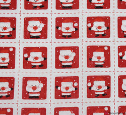 Poly Cotton Fabric - Santa Stitch Squares