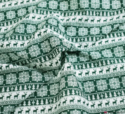 Poly Cotton Fabric - Scandi Snowflake Stag Rows Green / White