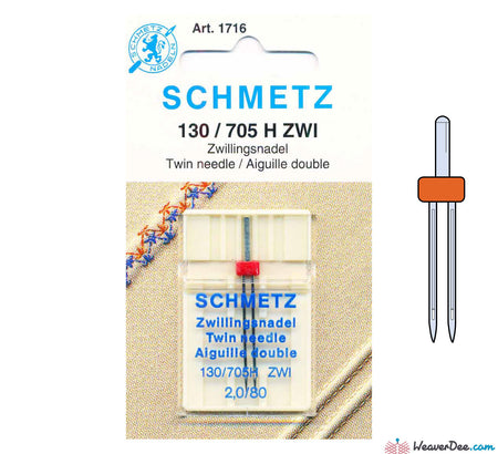 Schmetz - 2mm Twin Machine Needle - Size 80 - WeaverDee.com Sewing & Crafts - 1
