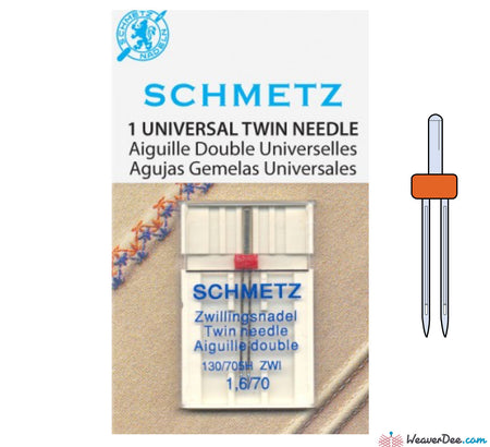 Schmetz - 1.6mm Twin Machine Needle - Size 70/10 - WeaverDee.com Sewing & Crafts - 1