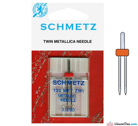 Schmetz - 3mm Metallica Twin Machine Needle - Size 90/14 - WeaverDee.com Sewing & Crafts - 1