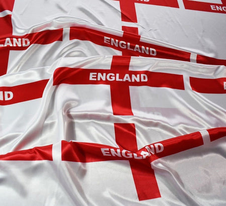 England Flag Silky Satin Fabric