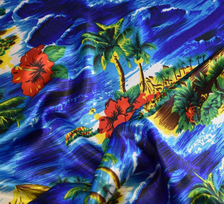 Tropical Island Silky Satin Fabric