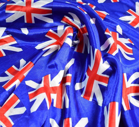Union Jack Flag Silky Satin Fabric / Royal Blue