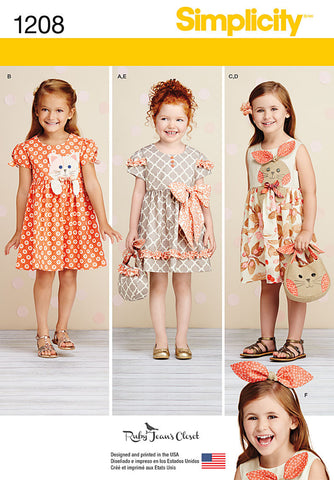 Simplicity - S1208 Girls' Dresses & Headbands - WeaverDee.com Sewing & Crafts - 1