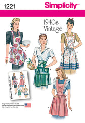 Simplicity - S1221 Vintage 40's Aprons - WeaverDee.com Sewing & Crafts - 1