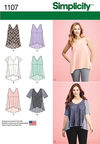 Simplicity - S1107 Misses' Tops with Fabric Variations - WeaverDee.com Sewing & Crafts - 1