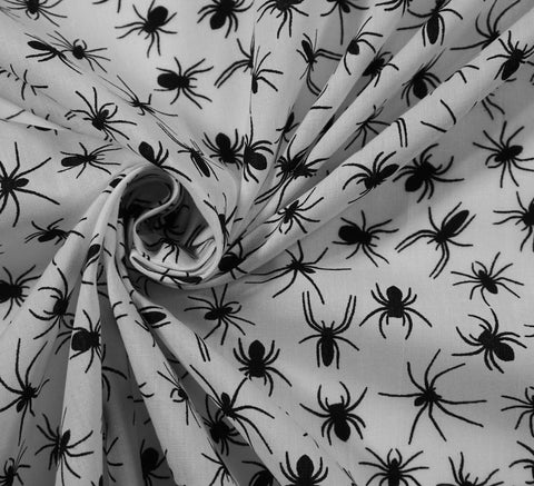 Poly Cotton Fabric - Incy Wincy Black Spider