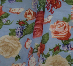 Splendid Roses Sky Blue Cotton Lawn Fabric