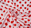 Spots & Dots Cotton Poplin Fabric - Red on White