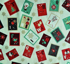Rose & Hubble Cotton Fabric - Christmas Stamps