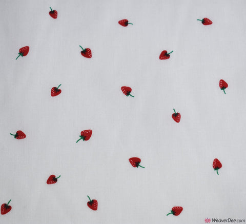 Poly Cotton Fabric - Little Strawberries