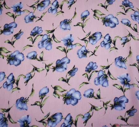 Sweet Blossoms Crinkle Georgette Pink Fabric