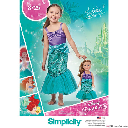 "Simplicity Pattern S8725 Disney Ariel The Little Mermaid- Child's & 18"" Doll Costumes"