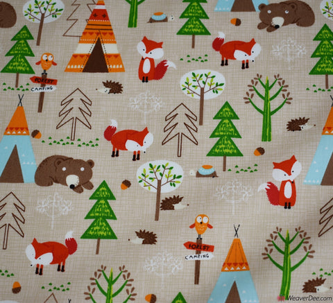 Rose & Hubble Cotton Poplin Fabric - Autumn Tepee Forest
