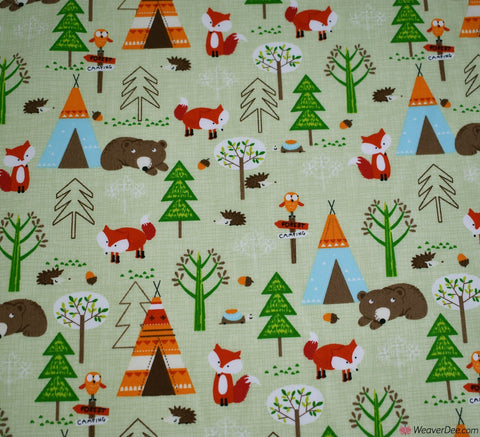 Rose & Hubble Cotton Poplin Fabric - Summer Tepee Forest