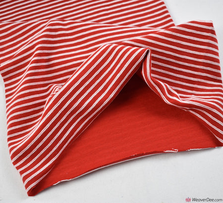 Tube Ribbing Cotton Fabric - Red / White Stripe