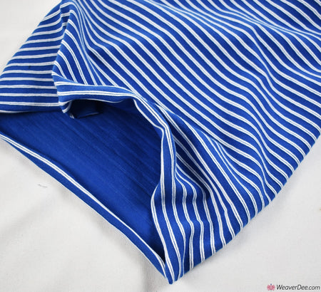 Tube Ribbing Cotton Fabric - Blue / White Stripe