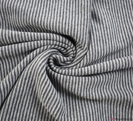 Tube Ribbing Cotton Fabric - Grey / White Stripe