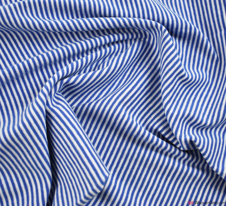 Tube Ribbing Cotton Fabric - Saxe Blue / White Stripe
