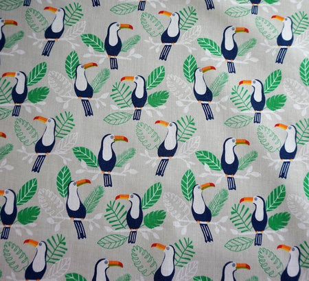 Premier Print Poly Cotton Fabric - Exotic Toucan Silver