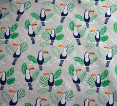 Poly Cotton Fabric - Exotic Toucan Silver
