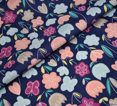 Premier Print Poly Cotton Fabric - Navy Tulips