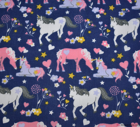Premier Print Poly Cotton Fabric - Unicorn Family Navy