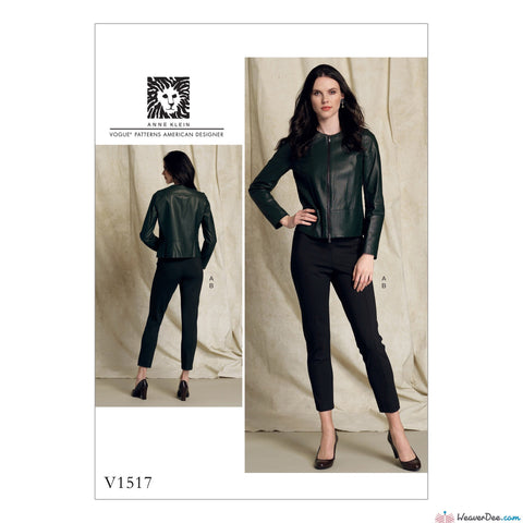 Vogue - V1517 Misses' Collarless Seamed Jacket & Pull-On Pants - WeaverDee.com Sewing & Crafts - 1