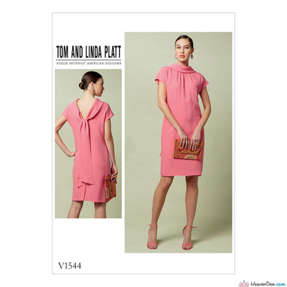 Vogue Pattern V1544 Misses' Lined Shift Dress With Back Drop-Collar & Tie