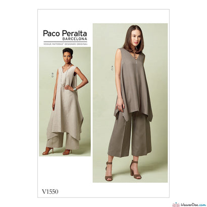 Vogue Pattern V1550 Misses' Pullover Tunic With Uneven Hem & Wide-Leg Pants