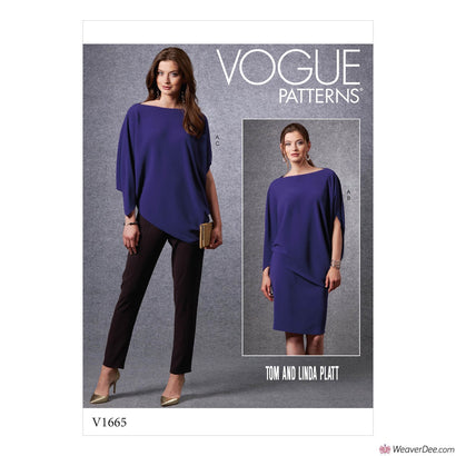 Vogue Pattern V1665 Misses' Top, Skirt & Trousers