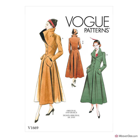 Vogue Pattern V1669 Misses' Vintage 1940s Coat