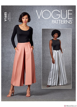 Vogue Pattern V1685 Misses' Wide Leg Trousers