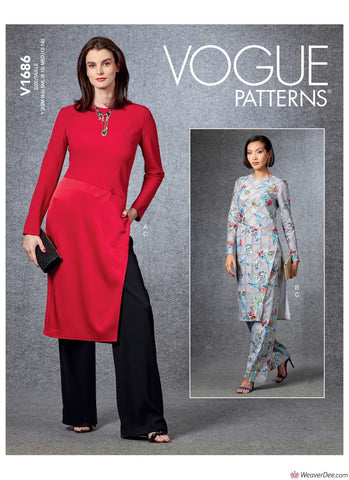 Vogue Pattern V1686 Misses' Tunic & Trousers
