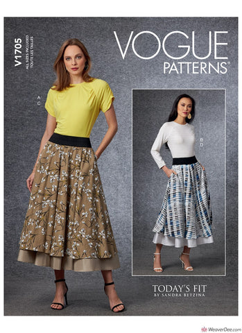 Vogue Pattern V1705 Misses' Top & Skirt