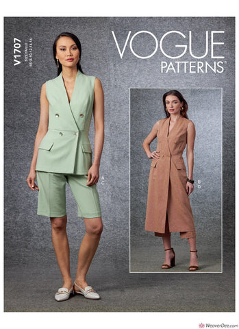 Vogue Pattern V1707 Misses' Vest, Shorts & Trousers