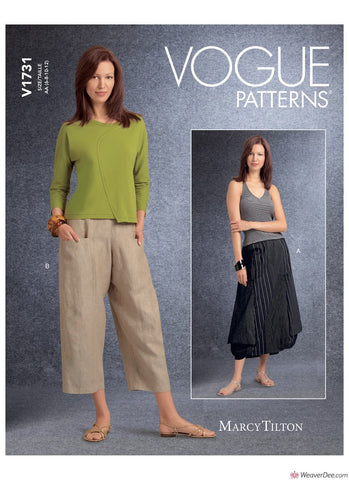 Vogue Pattern V1731 Misses' Deep-Pocket Skirt & Trousers