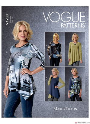 Vogue Pattern V1733 Misses' Shaped-Hemline Tops