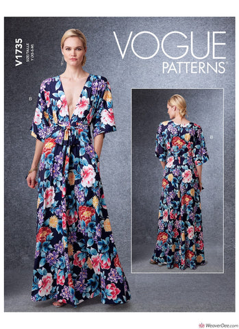Vogue Pattern V1735 Misses' Deep-V Kimono-Style Dresses with Self-Tie