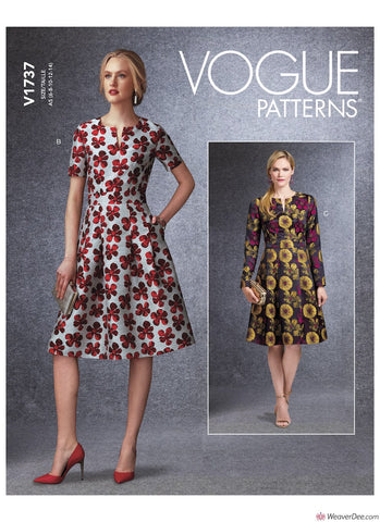 Vogue Pattern V1737 Misses' Fit-And-Flare Dresses with Waistband & Pockets