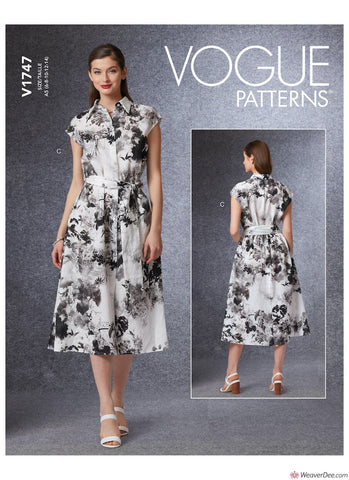 Vogue Pattern V1747 Misses' Dress & Belt