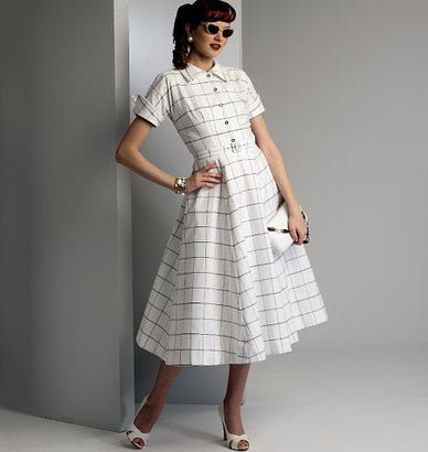 Vogue - V9000 Misses' Vintage 1950's Dress & Belt - WeaverDee.com Sewing & Crafts - 1
