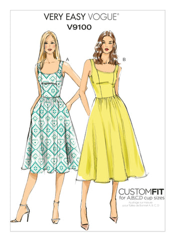 Vogue Pattern V9100 Misses' Sleeveless Gathered Waist Dresses - Very Easy